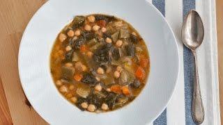 Cómo preparar un potaje de verduras. Una receta sana, saludable, fácil y barata, perfecta para comer en el menú semanal. Paso a paso, vídeo y fotos.