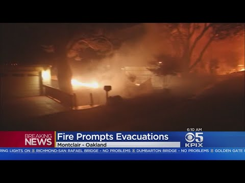 OAKLAND HILLS FIRE:  Five buildings burn overnight in a wind-whipped fire in the Oakland Hills