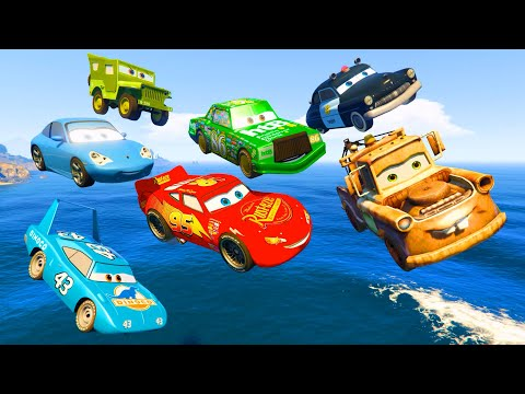 Thumbnail: Cars Party McQueen King Tow Mater Chick Hicks Sally Sheriff - Videos for Kids Nursery Rhymes Songs