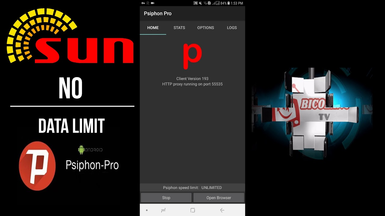 NO CAPPING NO LIMIT PSIPHON PRO + SUN CELLULAR