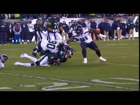 Clowney's Late Hit On Carson Wentz That Knocked Him Out Of The Eagles/seahawks Wildcard Game
