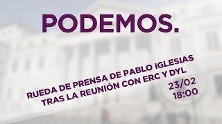 Rueda de prensa de Pablo Iglesias tras la reunión con ERC y DyL