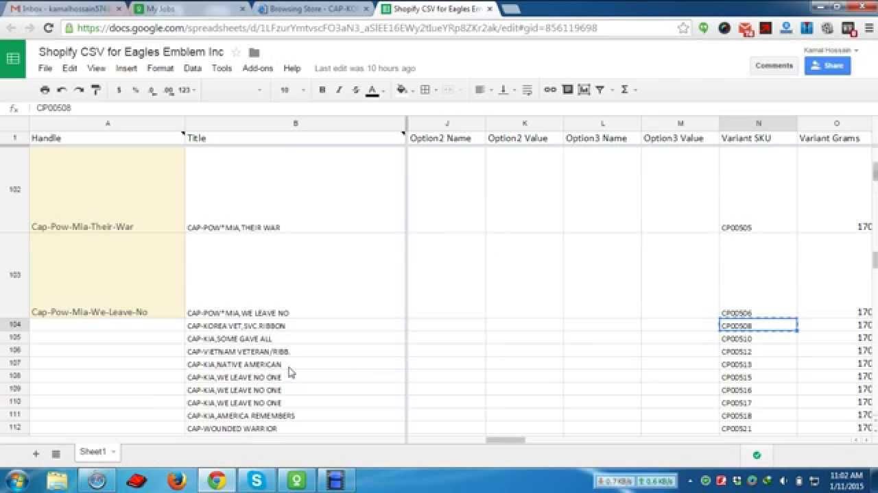 Shopify Product CSV File Prepare YouTube - Shopify csv template
