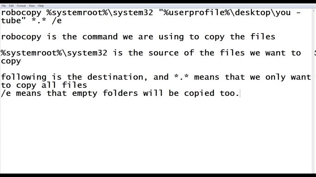 How to copy files using robocopy (cmd)