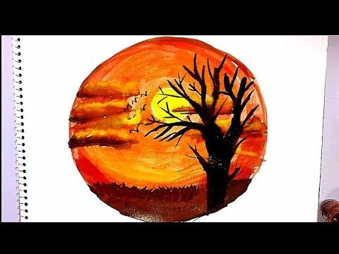 رسم مشهد لغروب الشمس بالالوان المائيه للمبتدئين وللاطفال خطوة