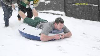 Oregon Football Players and the Snow.