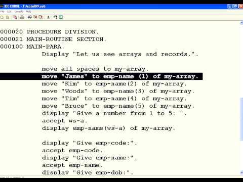 COBOL 10 Arrays and Records