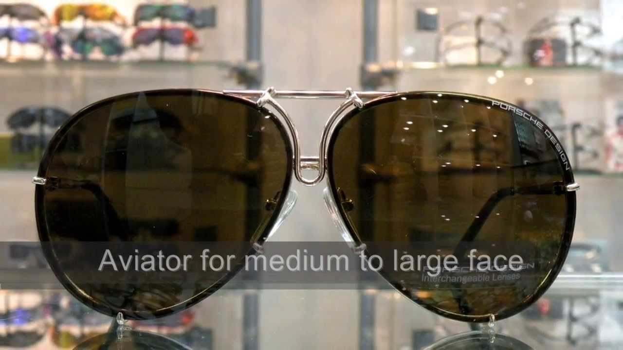 ee2908768ba4 Porsche Design aviator sunglasses P8478 interchange lens - YouTube