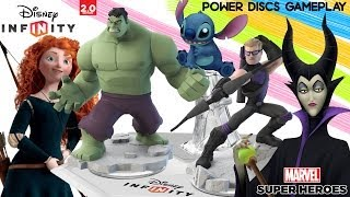 Disney Infinity 2.0 - Stitch, Merida, Maleficent - Power Discs GAMEPLAY! - Toy Photos + More!