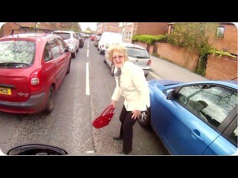 Motorcycle Hits Pedestrian   Old Lady Walks Through Traffic