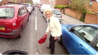 Motorcycle Hits Pedestrian | Old Lady Walks Through Traffic