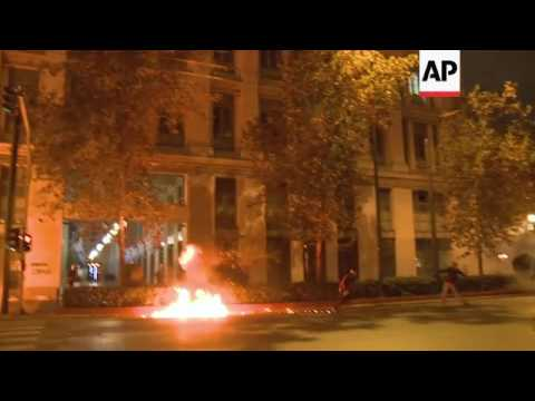 Clashes continue into the night in Greek capital