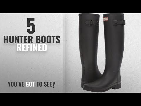 Top 5 Hunter Boots Refined [2018]: Hunter Women's Original Refined Rain Boots Black 8 M US