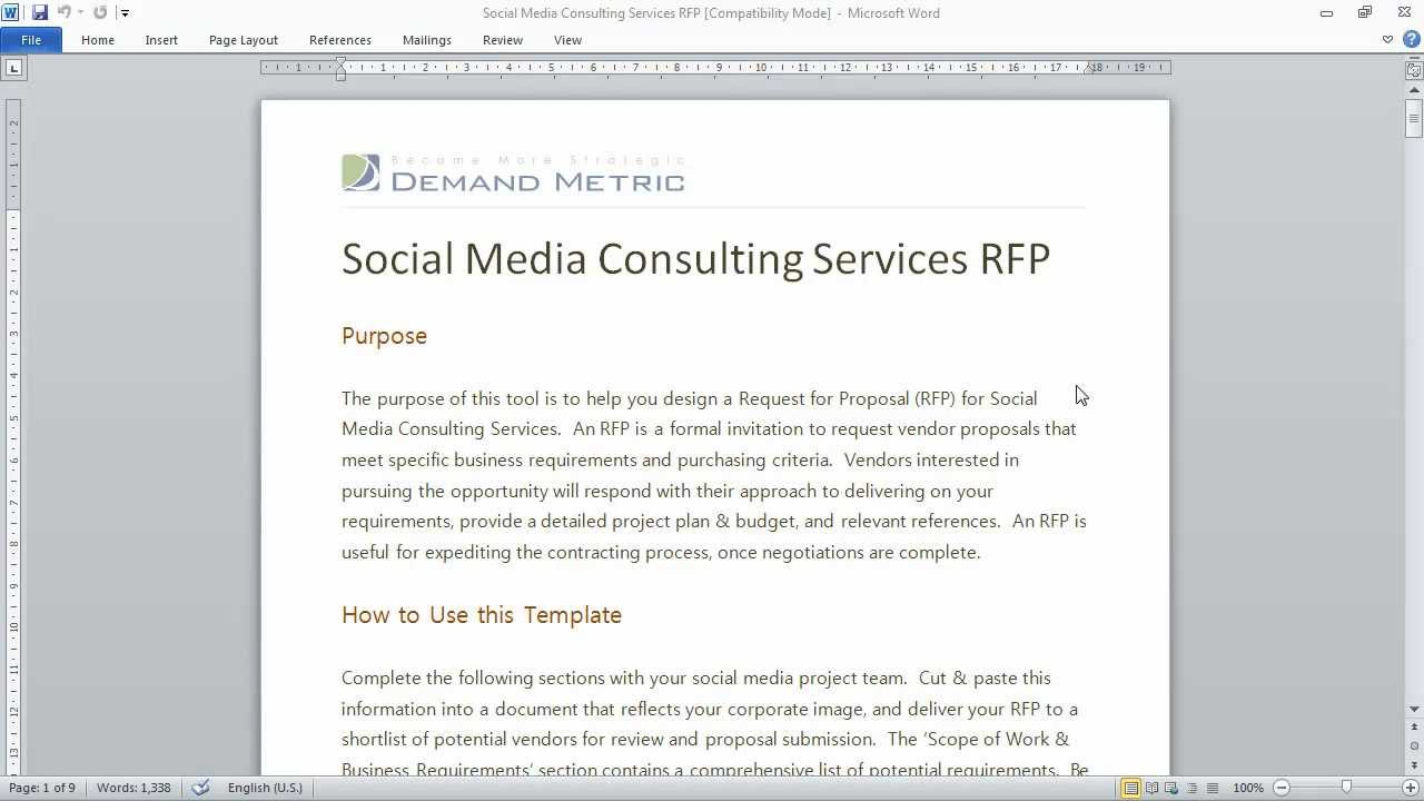 Social Media Consulting RFP Template