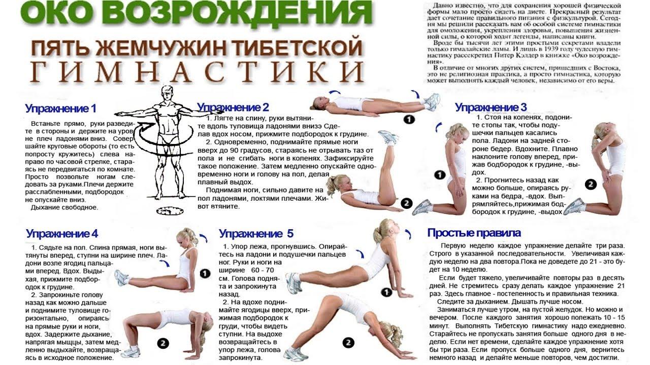 тибетская гимнастика для похудения с картинками