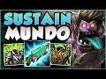STOP PLAYING MUNDO WRONG! SUSTAIN MUNDO 100% HEALS TOO MUCH! MUNDO TOP GAMEPLAY! - League of Legends