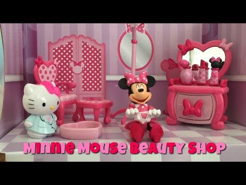 Minnie Mouse Beauty Shop Bowtique Toy Unboxing with Hello Kitty