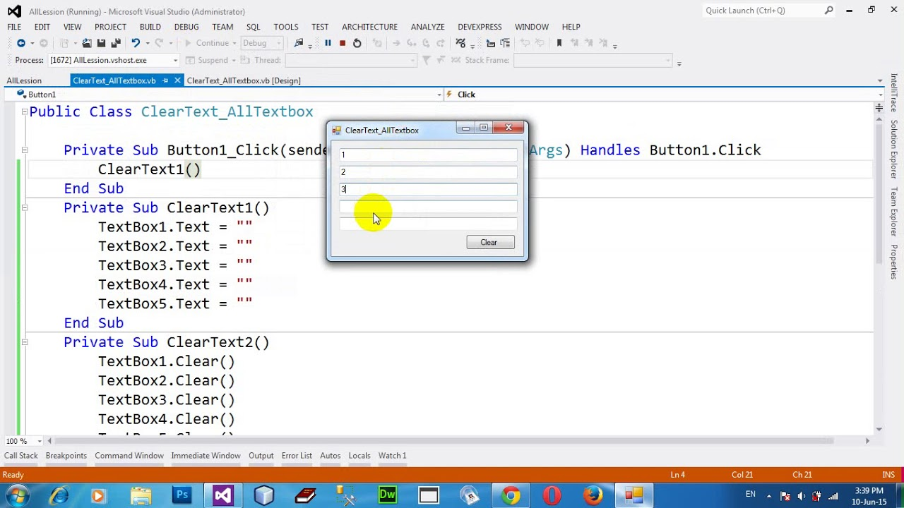How to clear all textbox by static method and dynamic method in VB NET 2012