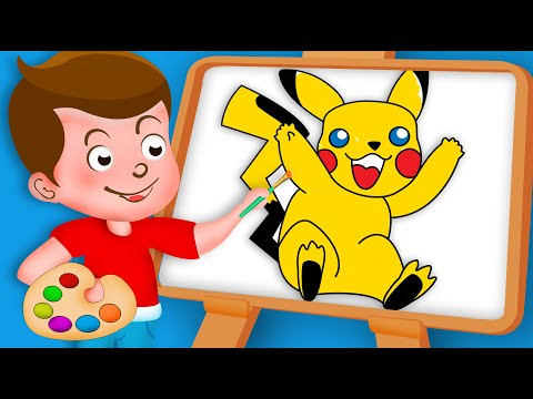 Drawing Pikachu cartoon Paint And Colouring For Kids #kidsdrawingtv