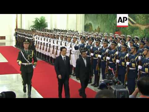 AHMADINEJAD ATTENDS WELCOMING CEREMONY, MEETS CHINESE LEADERSHIP