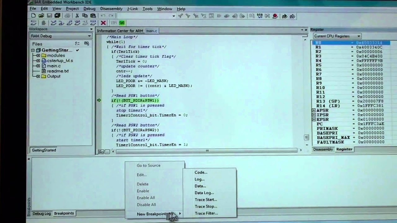 IAR Systems Advanced Debugging Breakpoints