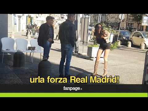 """""""Urla Forza Real Madrid e ti mostro le tette"""": scherzo ai tifosi napoletani (CANDID CAMERA)"""