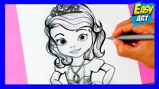 Como dibujar la princesita Sofia l how to draw the princess sofia l como dibujar una princesa