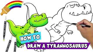 Draw T Rex with Marker | Jurassic World | Step-By-Step Tutorial