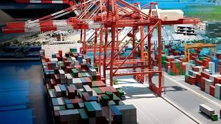 【Nゲージ】クレーンも動く貨物のジオラマがすごい