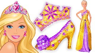 Play Doh Making Colorful 💖 Sparkle Disney Princess Barbie Dress 👗 High Heels Crown Castle Toys
