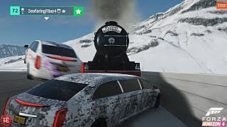 Forza Horizon 4: Limo VS TRAIN!? + JeepGuy Gets STUCK ON THE BRIDGE