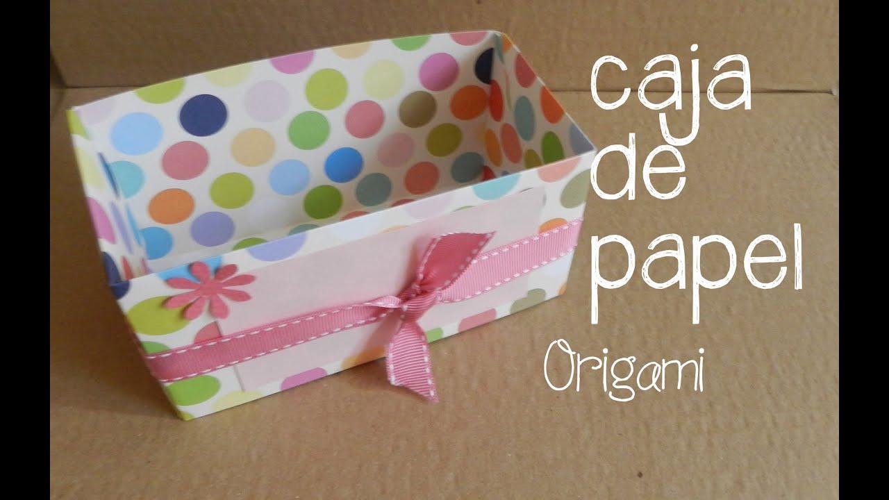 Caja de papel origami dos youtube - Cajas forradas de papel ...