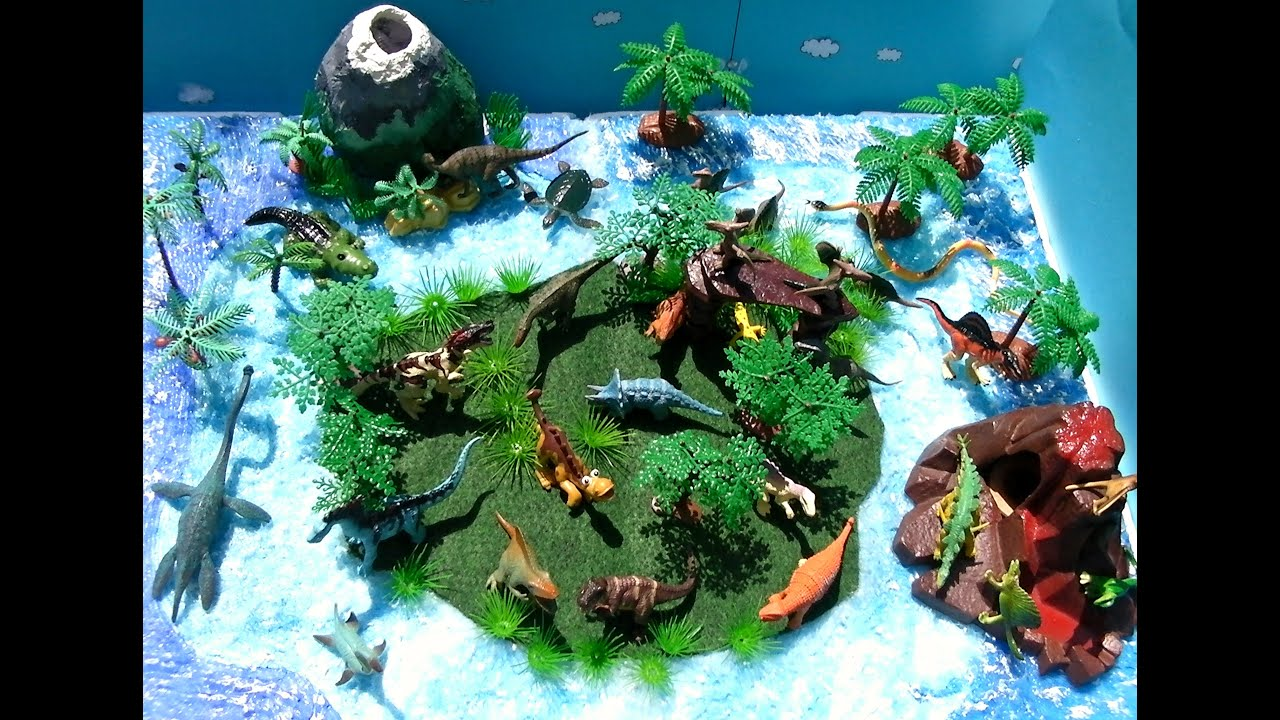 dinosaurs for kids island with vulcano and dinosaur toys for