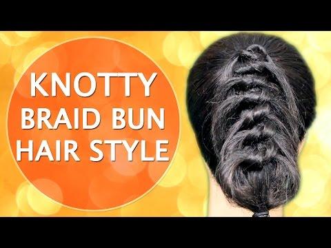 Hair Style in Hindi for Knotty Braid Bun - Do it Yourself | KhoobSurati Studio