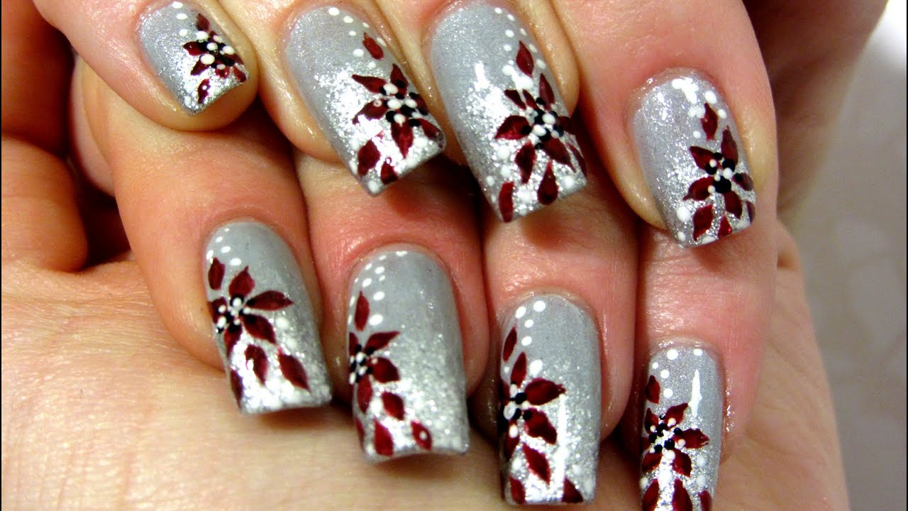Silver & Deep Red Floral Design Nail Art Tutorial - YouTube
