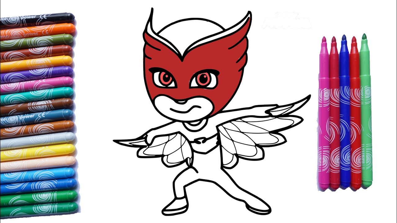 Pj Masks Owlette Coloring Pages Les Pyjamasques Coloriage Youtube