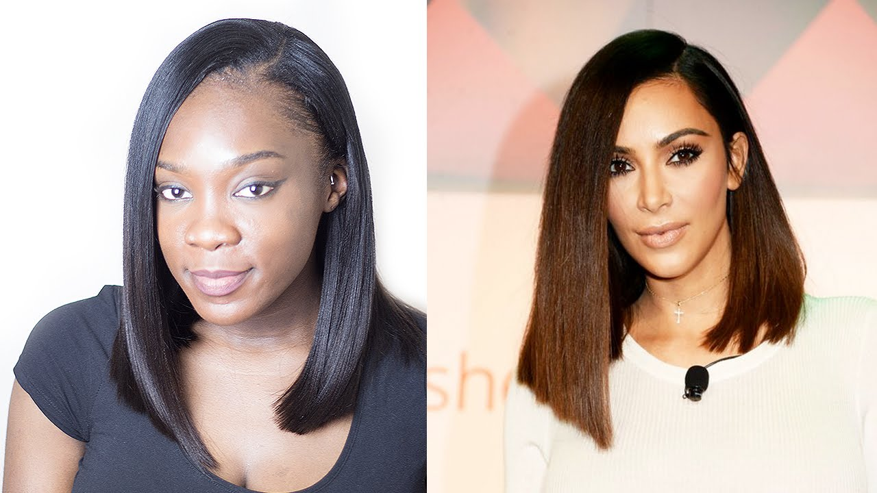 Kim kardashian lob long bob asymmetrical hair cut youtube urmus Image collections