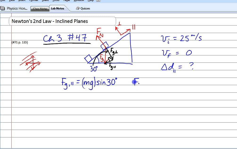 forces newtons second law inclined planes example djd  vid 30