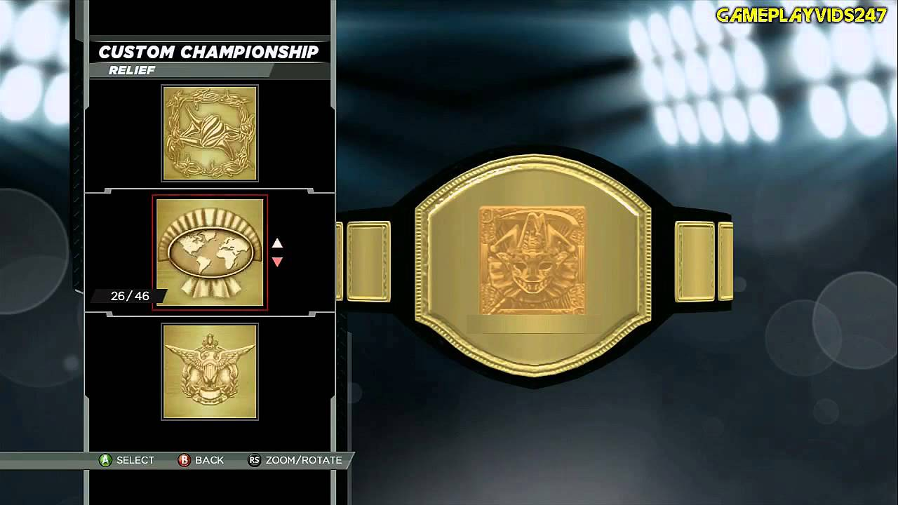 WWE 2K15: Create A Championship Belt Mode Showoff - (Reliefs + Belt Call Names) - YouTube