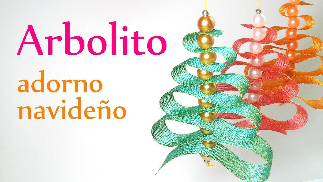 Manualidades para navidad arbolito de cinta o list n - Adorno de navidad manualidades ...