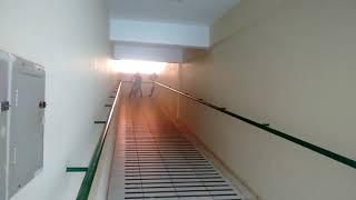 Eduardo descendo a escada de bike