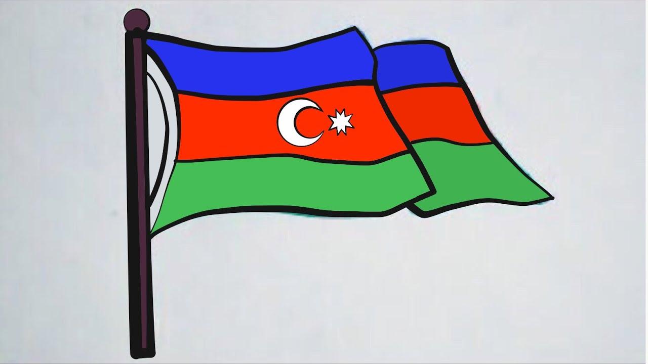 Cok Kolay Azerbaycan Bayragi Cizimi Youtube