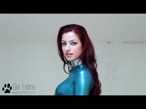 Gia felino blue latex catsuit