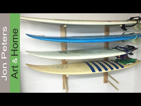 How to Build a Surfboard Rack + Install on a Cinder Block Wall