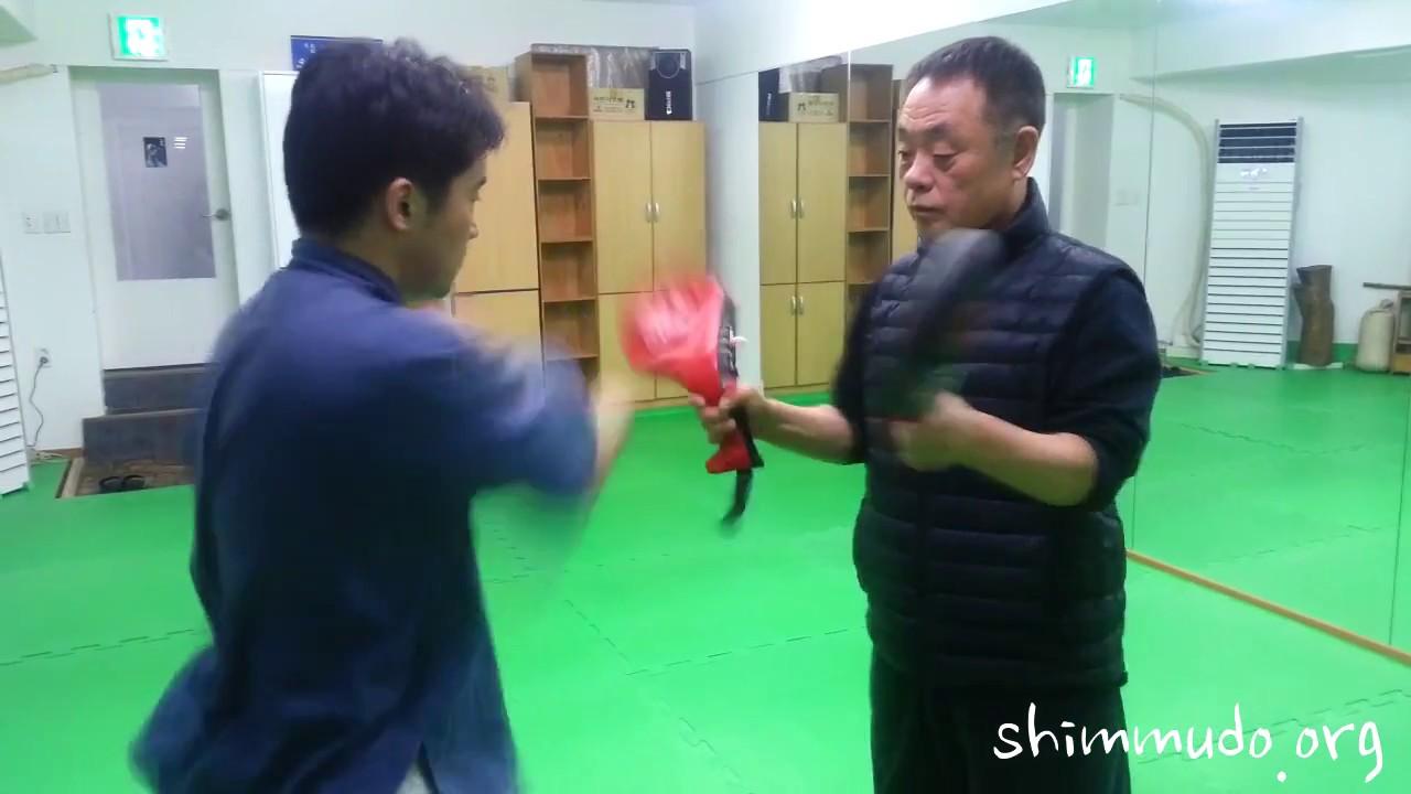 심무도(心武道) - 양손으로 미트 타격연습