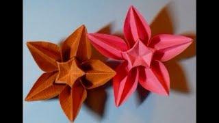 Origami Flowers ,(one cut)