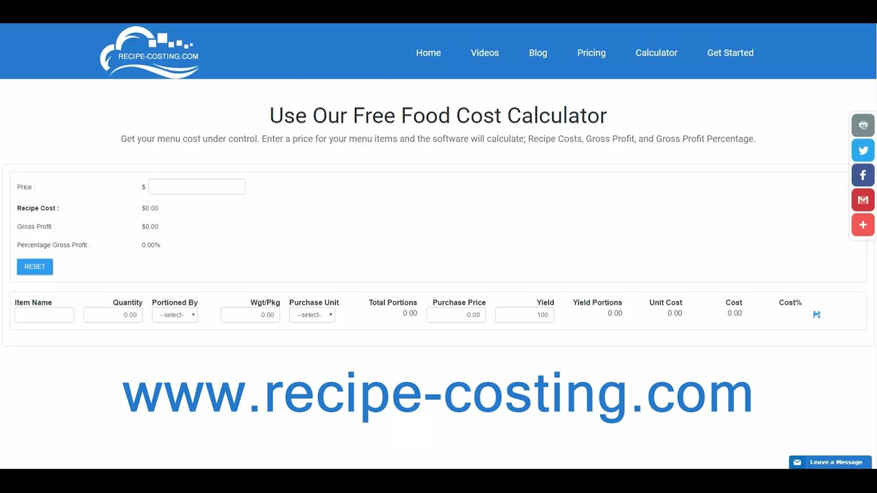 Food cost calculator youtube food cost calculator forumfinder Image collections