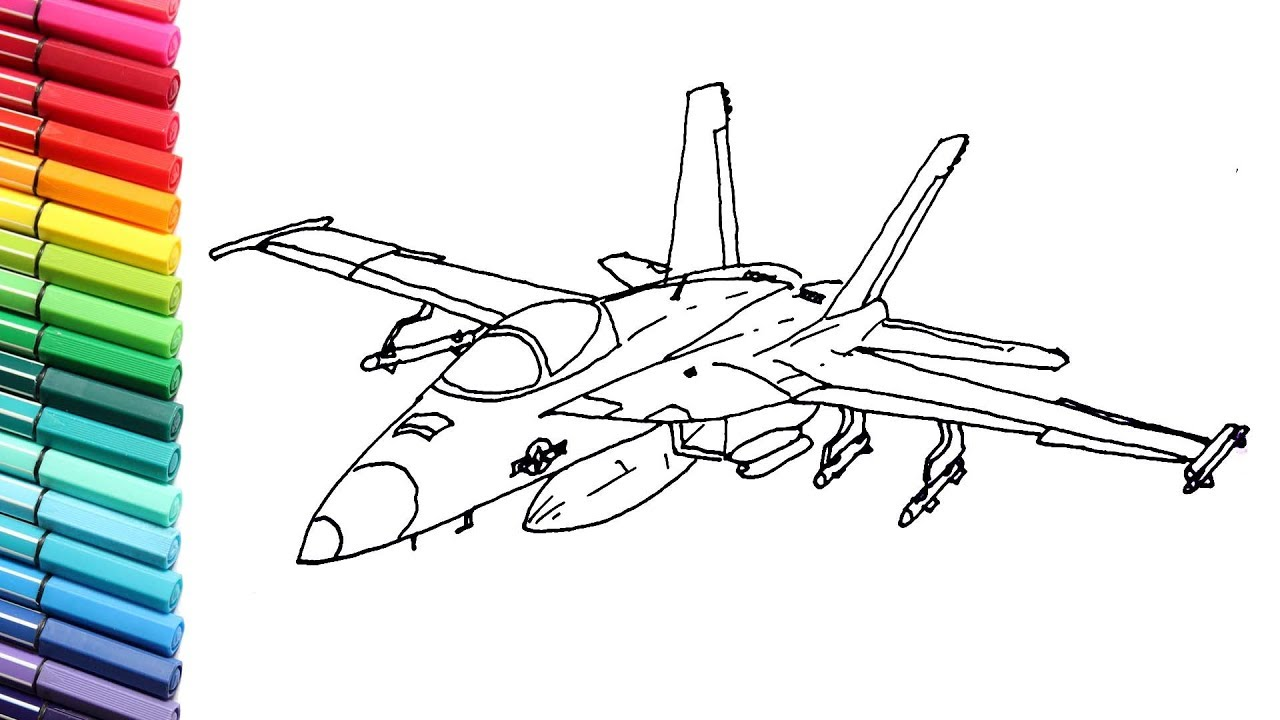 - Drawing And Coloring Fighter Jet For Kids - Aircraft Color Pages