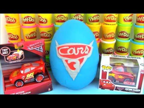 Disney Cars 3 Movie Giant Playdoh Surprise Egg Lightning McQueen
