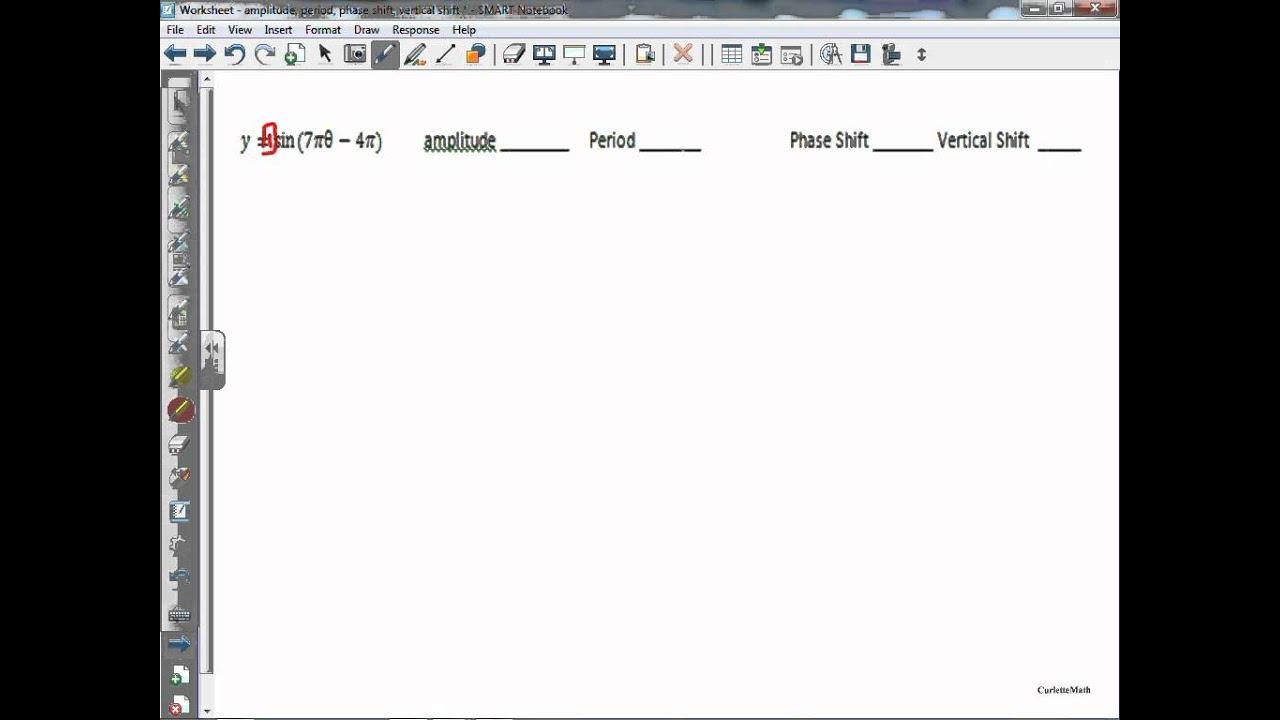 Worksheet Amplitude Period Phase Shift Vertical Shift